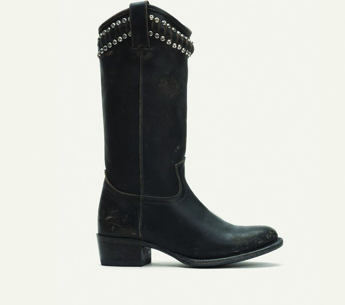 Frye's Diana Cut Stud Tall Boot continues the modern blend of the classic and edgy take on the Cowboy boot.