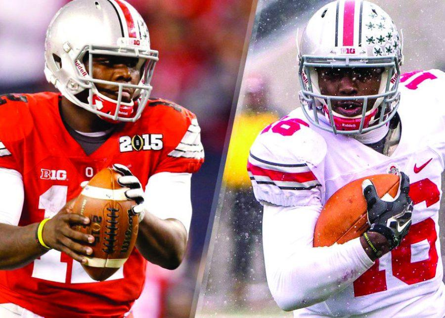 Head+Coach+Urban+Meyer+must+decide+between+two+blue-chip+quarterbacks+to+lead+the+Buckeyes+in+their+2015+campaign