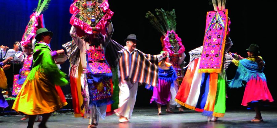 Ayazamana+took+the+stage+at+Brehmer+Theater%2C+showcasing+their+elaborate+costumes+and+traditional+Ecuadorian+dance.%C2%A0