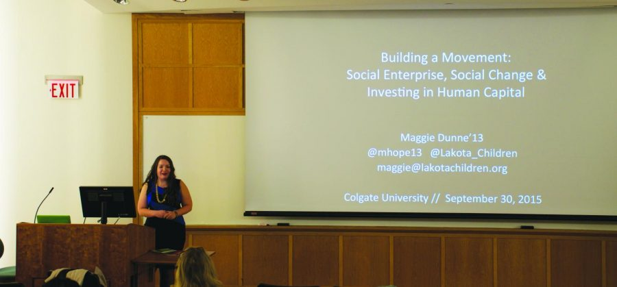 Alumna Maggie Dunne '13 explains her role in establishing anon-profit organization in South Dakota.