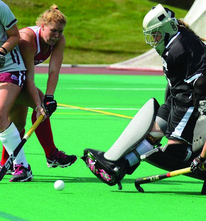 Sophomore goalkeeper Maria Krull keeps her head down during 9-0 loss to Boston University and tallies 11 saves.