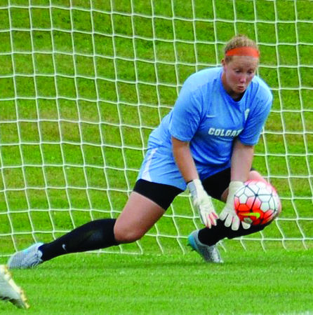 Senior goalkeeper Erin Cummings made three crucial saves for the Raiders in the game against Lehigh.
