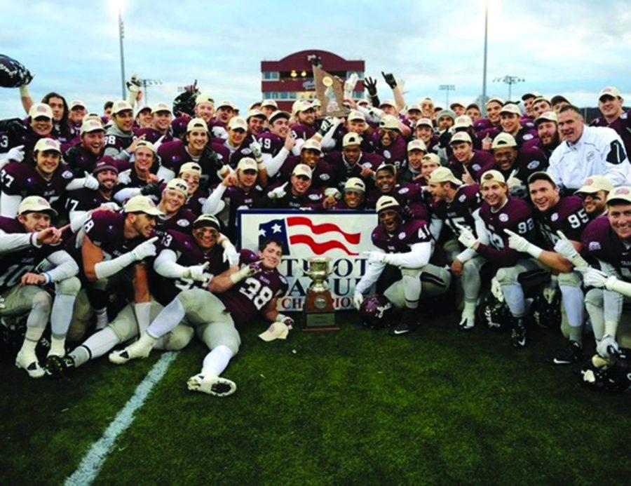 The+Raiders+celebrated+as+2015+Patriot+League+Champions+after+their+49-42+victory+over+the+Lehigh+Mountain+Hawks