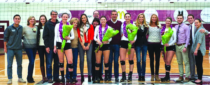 The women's volleyball seniors celebrated their Senior Night with friends and family and a huge shutout win over Lafayette. Pictured (from left to right): Katie Fauntleroy, Jackie Macy, Kate Reilly, Brooke Shupryt-Knoop.