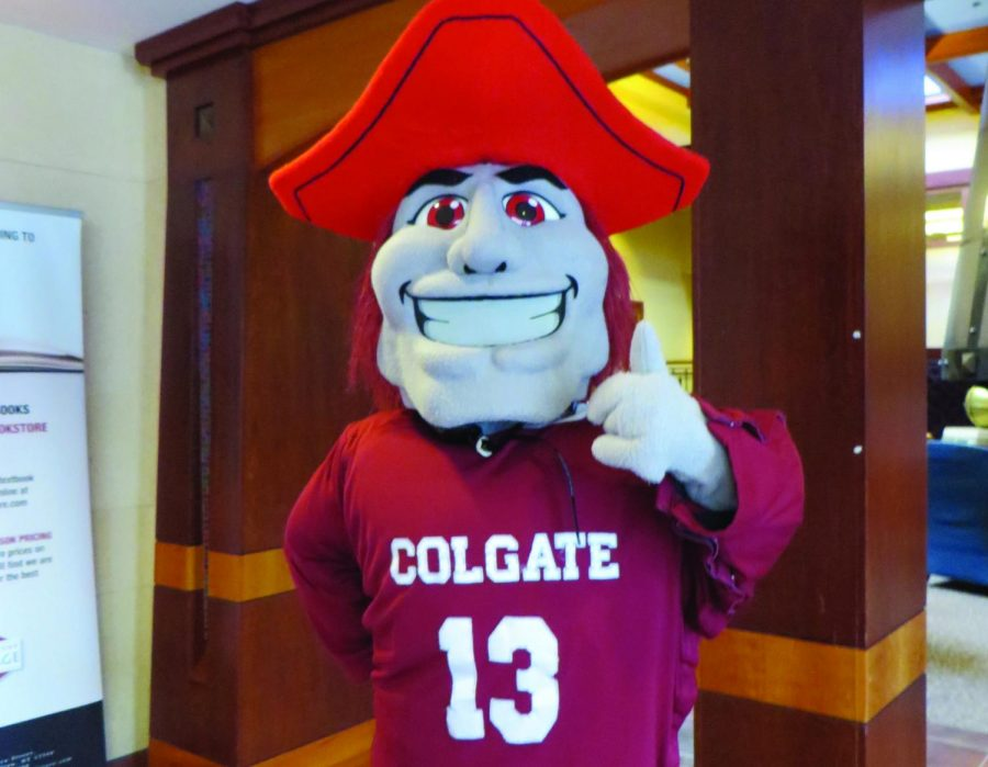 The Colgate Raider greeted students and posed for pictures between classes at the COOP.