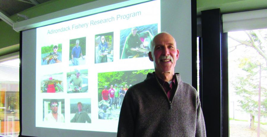 Professor Kraft explained the threat posed by acid rain on the trout population in the region.