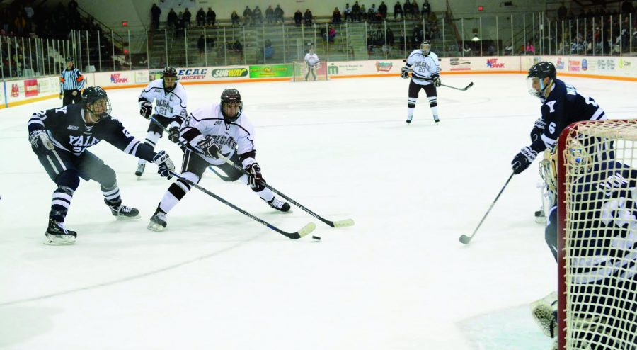 Senior forward Tyson Spink received a pass along the boards and made his way around two Yale defenseman to try and deke Lyon; although he was unsuccessful, he generated an important offensive chance for the Raiders.