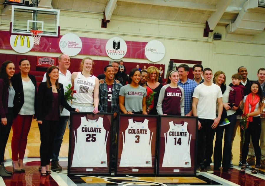 The+seniors+on+the+women%E2%80%99s+basketball+team+were+honored+last+week+before+their+huge+victory+over+Lafayette.