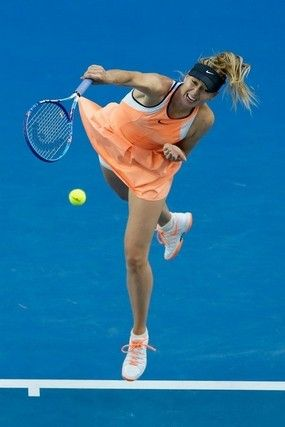 Maria Sharapova is pictured above serving in the 2016 Australian Open, a tournament in which she failed a drug test. Many believe Sharapova will serve a lengthy suspension for her offense.