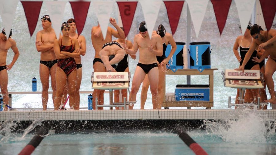 A+Colgate+swimmer+gets+off+his+block+in+last+week%27s+Patriot+League+meet.+The+men%27s+team+finished+seventh+overall+in+the+season+finale.