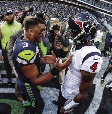 Seattle Seahawks quarterback Russell Wilson and Houston Texans QB Deshaun Watson Houston Texans each threw for over 400 yards and four touchdowns, while running for more than 30 yards each.