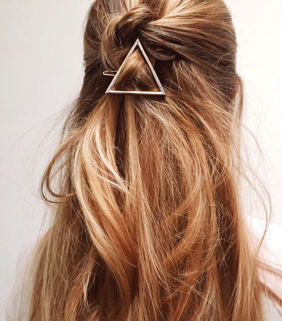 This triangular hair holder is the way of the future.