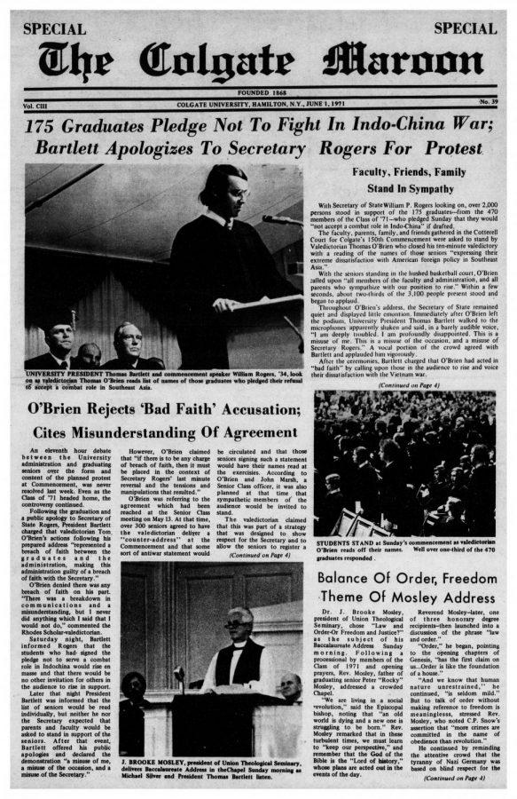"Shown here are pages from the special issue of The Colgate Maroon's coverage of the graduation ceremony, O'Brien's speech and reactions from faculty, administrators, and fellow students. The commentary covering O'Brien's speech was largely negative, claiming that the speech was in ""bad faith.""  Bishop J. Mosley, who received an honorary degree that day, praised O'Brien and stated, ""When a high ranking member of the administration makes an appearance, he must expect that the people will speak out."""