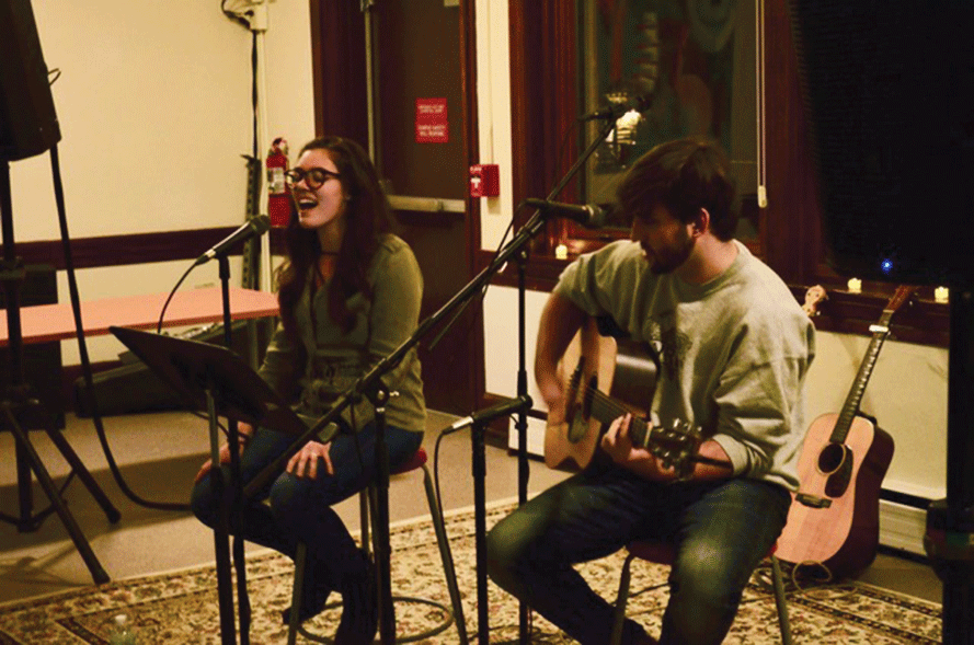 Student performers Sierra Sunshine and Isaiah Keyes perform the opening act for Amythyst Kiah's Coffeehouse performance.