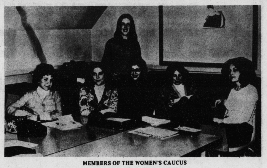 Members of the Women's Caucus gathered in 1975 to organize the activities,  events and speakers for the women's festival.
