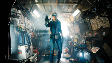 """Wade Wyatts, played by Tye Sheridan, enters the virtual reality of the OASIS. This shot captures the stark difference between the freedom of the virtual world and the entrapment of """"the stacks."""""""