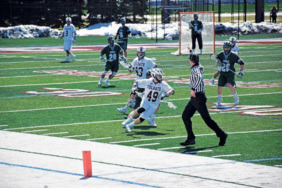The Loyola Maryland Greyhounds defeated Colgate 11-7 last weekend. Despite a two goal contribution from Sam Cleveland and 17 faceoff wins by Colin Orr, the Raiders were unable to recover from a season high of 19 turnovers.