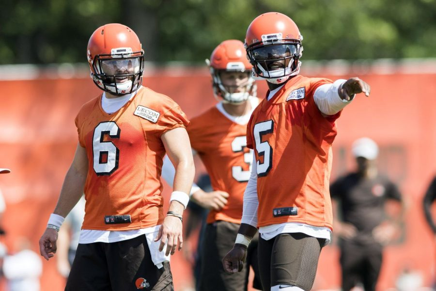 Baker Mayfield (left) and Tyrod Taylor (right) could both be named starters for good reason but, for now, the Browns are going with Taylor's experience.