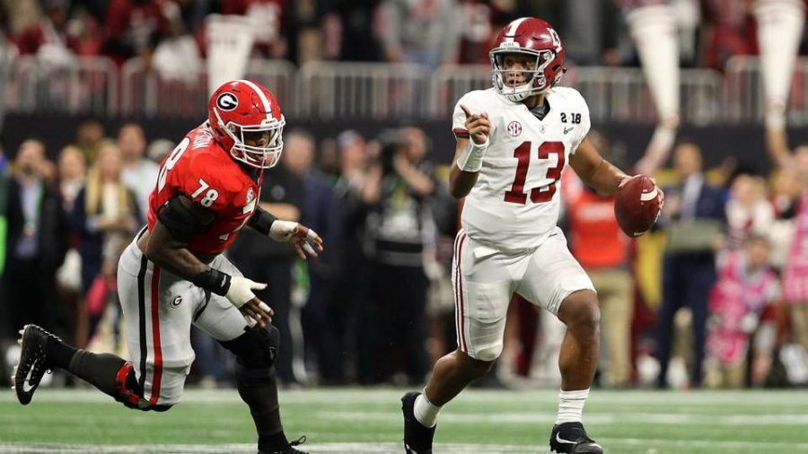 Tua+Tagovailoa+threw+a+41-yard+game+winning+touchdown+in+overtime+to+DeVonta+Smith+in+the+National+Championship+against+Georgia+on+January+8%2C+2018.+He+is+aiming+for+more+moments+of+glory+this+season+at+Alabama.