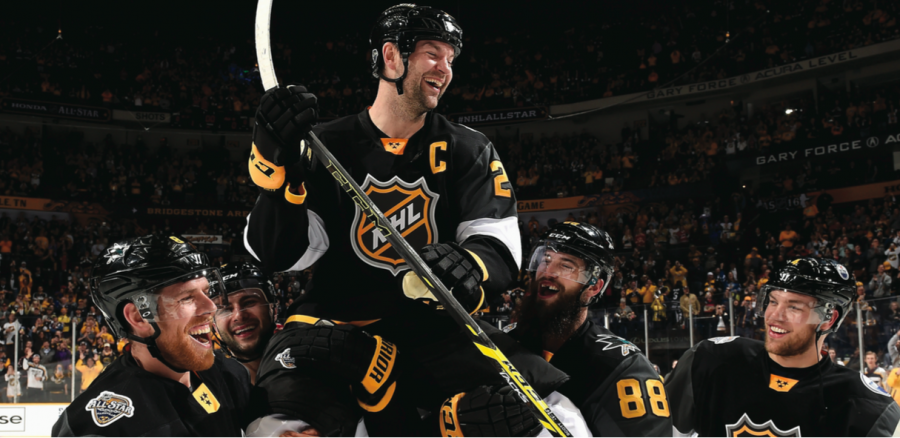 The 2016 All-Star Game, thanks to fan voting, welcomed longtime NHL veteran and enforcer John Scott as the captain of the Pacific Division team. When the three-on-three tournament concluded and Scott's team won, his team lifted him up and carried him off the ice.