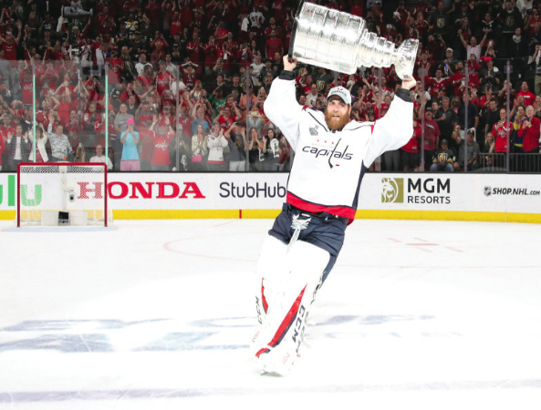 Washington Capitals goalie Braden Holtby raises the Stanley Cup after defeating the Las Vegas Golden Knights in the 2018 Stanley Cup Final.