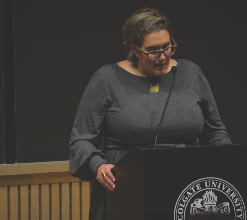 "Carmen Maria Machado speaks to the Col- gate Community on October 3 about her short story collection, ""Her Body and Other Parties."""