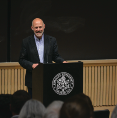The fifth writer for the Living Writers Series speaks on absurd writing during his visit to campus.