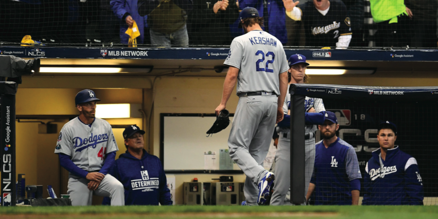 Los+Angeles+Dodgers+pitcher+and+three-time+Cy+Young+winner+Clayton+Kershaw+inexplicably+struggles+in+the+postseason.+In+Game+1+of+the+NLCS+against+the+Brewers%2C+Kershaw+was+forced+out+after+pitching+three+innings%2C+surrendering+four.%C2%A0