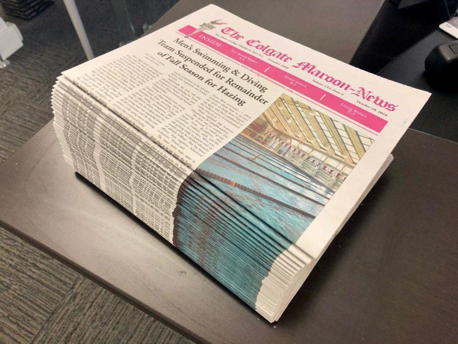 A stack of Maroon-News copies remains at Benton Hall after nearly 1,000 copies of the newspaper disappeared from their drop-off locations on Friday, October 19.
