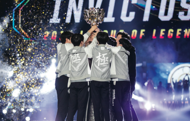 Chinese esports organization Invictus hoists the Summoner's Cup after defeating the European team, Fnatic.