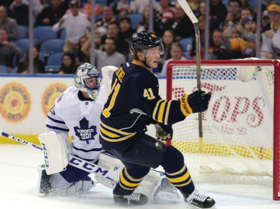 Buffalo Sabres center Jack Eichel, who now wears number nine, scores against the Maple Leafs in his rookie year. Now in 2018, the Sabres face the Leafs.