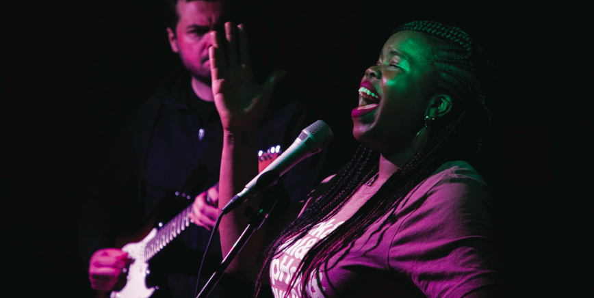 R&B singer and activist Danielle Ponder performed with her band, The Tomorrow People, for the Browns Commons Coffeehouse series on February 21.