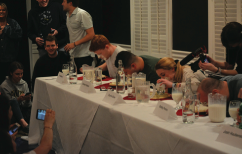 Colgate seniors raised money for the Senior Class Gift by participating in a cookie pie-eating contest.
