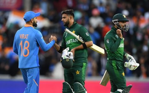 MANCHESTER, ENGLAND - JUNE 16: India captain Virat Kohli shakes hands with Pakistan batsman Imad Wasim after the Group Stage match of the ICC Cricket World Cup 2019 between India and Pakistan at Old Trafford on June 16, 2019 in Manchester, England. (Photo by Stu Forster-IDI/Stu Forster-IDI)