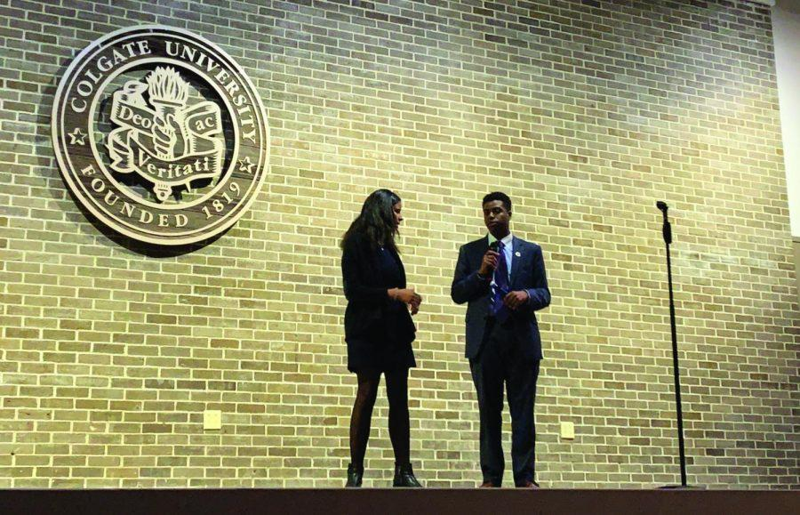 President Johns and Vice President Elarabi address the attendees at the speak-out.