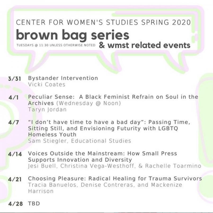 Center for Women's Studies Holds Virtual Brown Bag Series