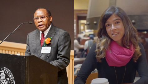 Faculty award recipients Harvey Sindima (Left) and Marta Perez-Carbonell (Right).