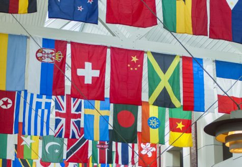 Flags in Frank Dining Hall represent the home countries of international and dual-citizen students at Colgate. According to University data, international students make up 11 percent of the incoming class of 2024.