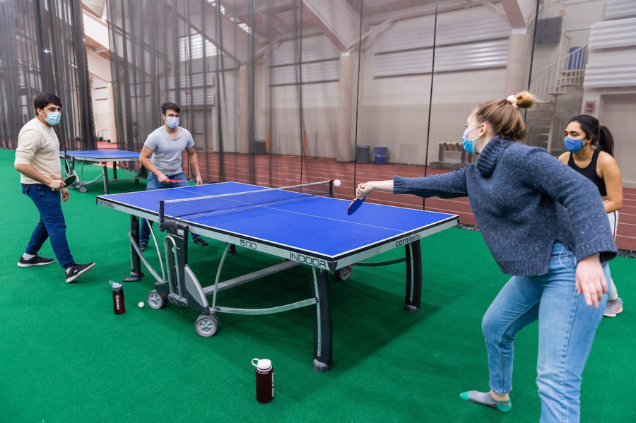 Colgate students participate in recreation time inside Sanford Field House during the spring quarantine upon returning to campus, January 27, 2021.