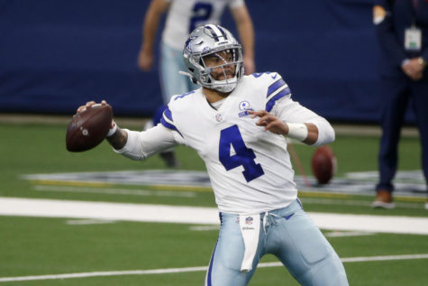 Dallas Cowboys quarterback Dak Prescott (4) throws against the Cleveland Browns during an NFL Football game in Arlington, Texas, Sunday, Oct. 4, 2020. (AP Photo/Michael Ainsworth)