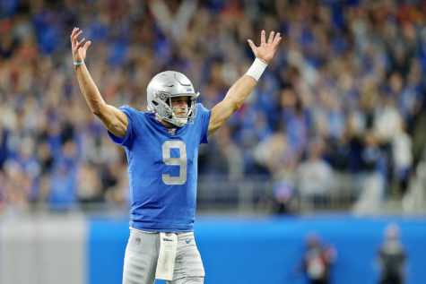 Detroit Lions quarterback Matthew Stafford (9) celebrates after a touchdown call stood after a review during their NFL game against the Kansas City Chiefs at Ford Field in Detroit, on Sunday, September 29, 2019. The Chiefs won the game, 34-30. (Mike Mulholland | MLive.com)