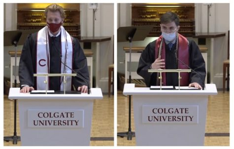 2020-2021 winners of the 1819 Award Paul McAvoy (left) and Jack Gómez (right) addressed  their fellow seniors, faculty and guests at the Baccalaureate Service during Commencement weekend.