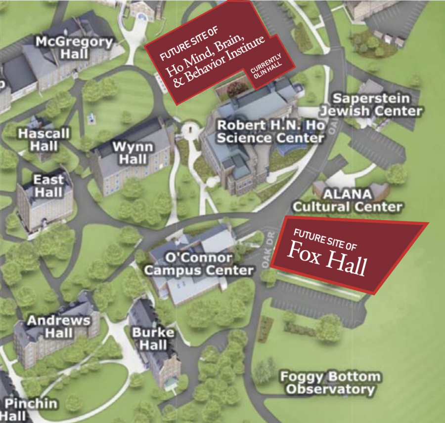 LOOKING FORWARD, FROM ABOVE: Major construction approved by Board of Trustees at significant Upper Campus sites.